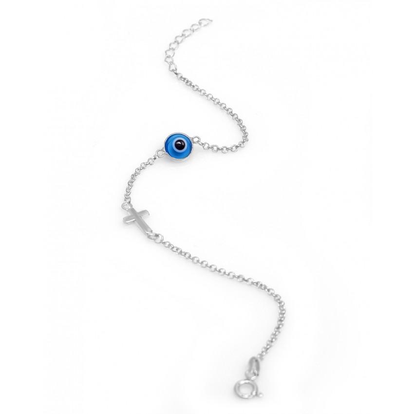 Silver Eye Bracelet White Evil Eye Bracelet Evil Eye Bracelet White Bracelet Protection Bracelet